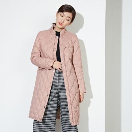 百思寒 95鹅绒服轻薄羽绒服中长款宽松粉色冬季韩版鹅绒服薄款