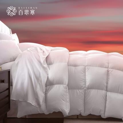 百思寒羽绒被白鹅绒片被加厚进口全棉提花冬被纯棉保暖被子被芯