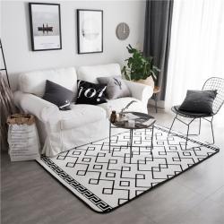 倪家2019新款北歐地墊客廳地毯地墊定制茶幾墊飄窗墊白線條