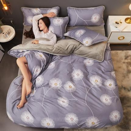 红粉佳人 2019法莱绒棉加绒水晶绒四件套床单款模特图小朵朵