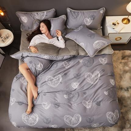红粉佳人 2019法莱绒棉加绒水晶绒四件套床单款模特图 心动