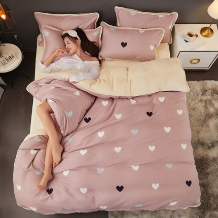 红粉佳人2019法莱绒棉加绒水晶绒四件套床单款模特图许愿精灵
