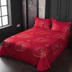 (总)七仙女家纺2019年新款32支全棉生态大红磨毛单品床单