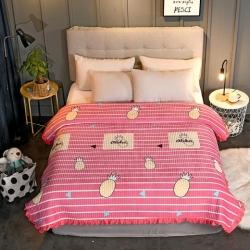 (总)岚吉家纺 新款韩式花边水晶绒绗缝加厚水洗全棉床盖炕毯