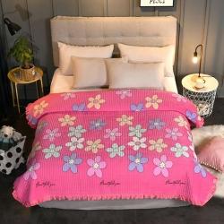 嵐吉家紡韓式花邊水晶絨絎縫加厚水洗全棉床蓋炕毯春暖花開-玫紅