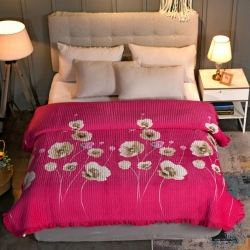 嵐吉家紡韓式花邊水晶絨絎縫加厚水洗全棉床蓋炕毯綠肥紅瘦-玫紅