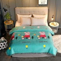 嵐吉家紡 韓式花邊水晶絨絎縫加厚水洗全棉床蓋炕毯運動佩奇-綠