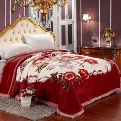 尚品凤凰 KG拉舍尔毛毯 90083红棕