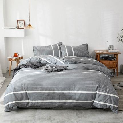 新棉坊 2018新款简约风条纹全棉四件套床单款 多拉灰