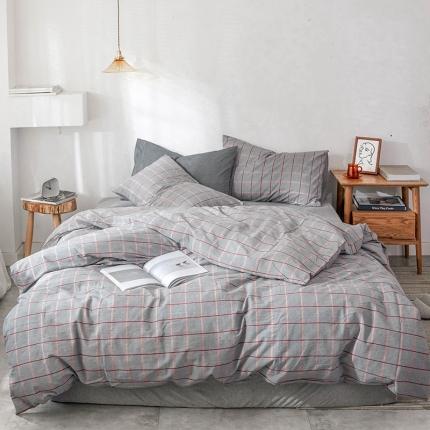 新棉坊 2018新款简约风条纹全棉四件套床单款 莎士比亚