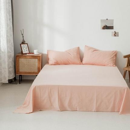 新棉坊 2019新款色织水洗棉单品床单 纯浅粉