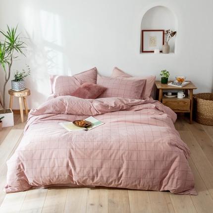 (总)新棉坊 2019新款色织水洗棉四件套床单款