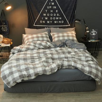 清雅福 水洗棉四件套床单款格调-灰
