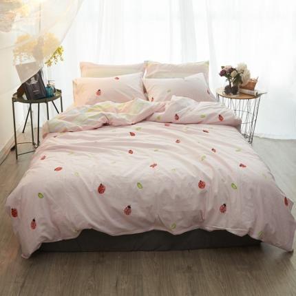 清雅福 水洗棉四件套床单款小瓢虫