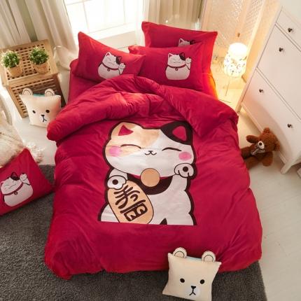 清雅福 印花水晶绒大版卡通系列 发财猫星人