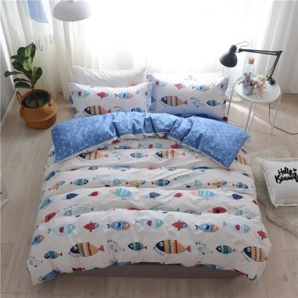 清雅福 新品印花系列四件套床单款好多鱼