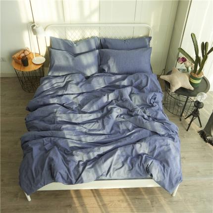 清雅福 新品水洗棉四件套床单款纯色-牛仔蓝
