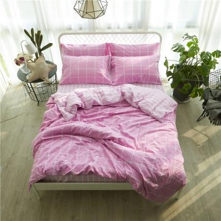 清雅福 新品水洗棉四件套床单款糖果-粉紫格