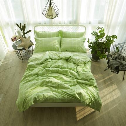 清雅福 新品水洗棉四件套床单款糖果-绿格