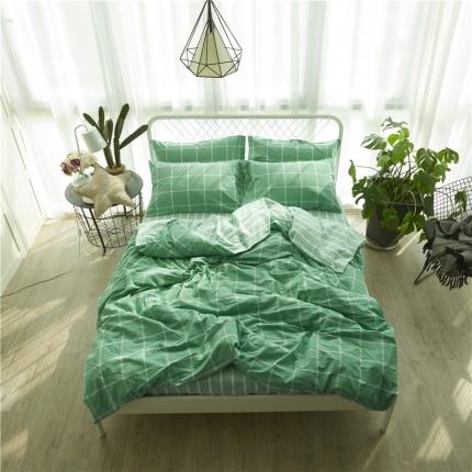 清雅福 新品水洗棉四件套床单款糖果青绿格