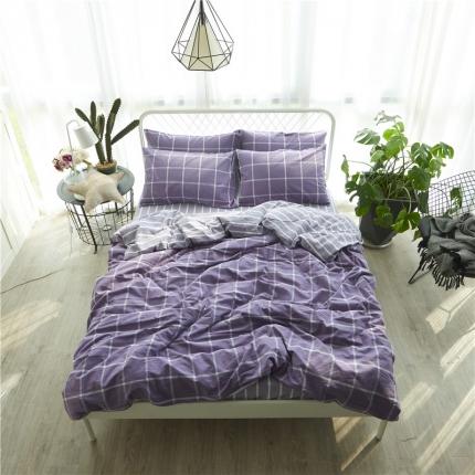 清雅福 新品水洗棉四件套床单款糖果紫格