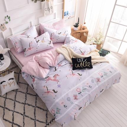 清雅福家纺 13374全工艺喷气全棉四件套床单款萌马甜心