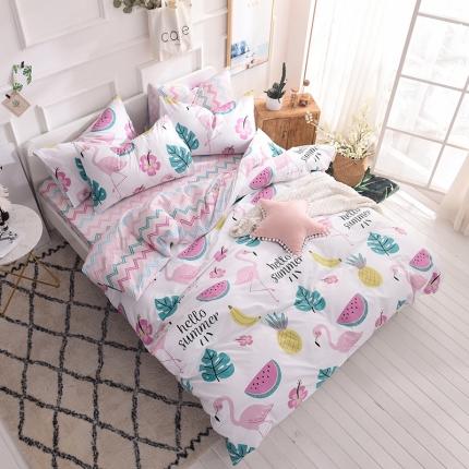 清雅福家纺 13374全工艺喷气全棉四件套床单款趣味森林