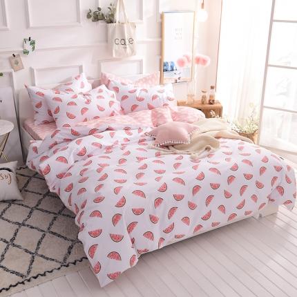 清雅福家纺 13374全工艺喷气全棉四件套床单款西瓜