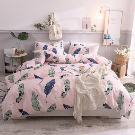 (总)清雅福 13070喷气小清新卡通四件套植物花卉类床单款