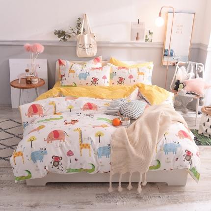 清雅福 13070喷气卡通小清新类四件套床单款 疯狂动物城