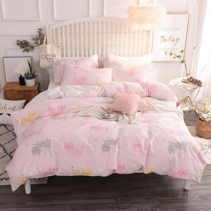 清雅福 13374全工艺喷气新品四件套床单款 小花猫