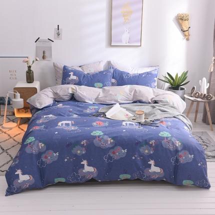 清雅福 13374全工艺喷气新品四件套床单款 蓝精灵