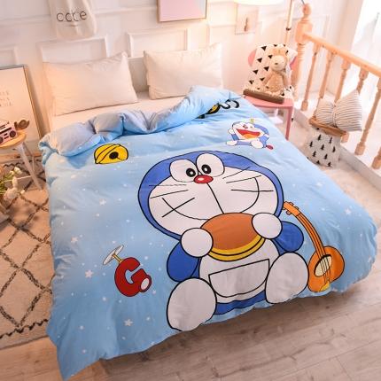清雅福家纺 2018家纺棉加绒大版卡通保暖单品被套神奇叮当猫
