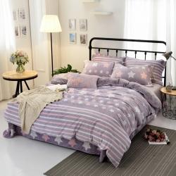 博越家纺 5D雕花绒法莱绒 珊瑚绒 四件套 魅力星光-紫