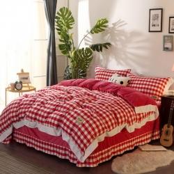 玖久爱家纺 水洗色织水晶绒四件套 红白中格