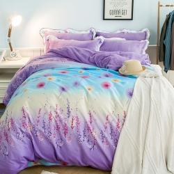 七洛阁家纺 韩版法莱绒四件套含羞草-紫