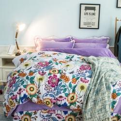 七洛阁家纺 韩版法莱绒四件套花想容-紫