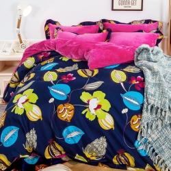 七洛阁家纺 韩版法莱绒四件套盛夏的果实
