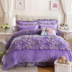 七洛阁家纺 纯棉+法莱绒韩版四件套温婉花镜-紫