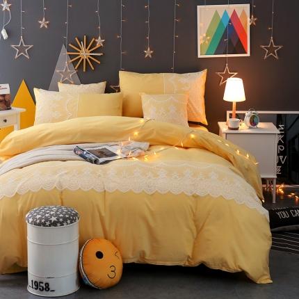 斐凡国际家纺  蕾丝系列四件套柠檬黄