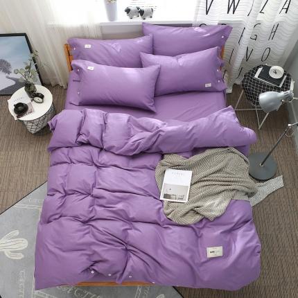 斐凡国际 全棉纯色加厚磨毛四件套 曼陀罗紫