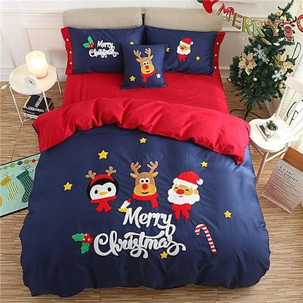 斐凡国际 2017新款专版圣诞大版毛巾绣四件套圣诞家族