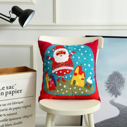 斐凡国际 圣诞毛巾绣抱枕 happy