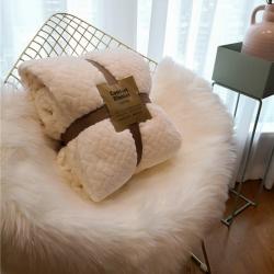舒居双层羊羔绒毛毯盖毯ins法兰绒&法莱绒毯子麻花系列 白色