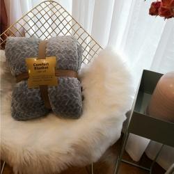 舒居双层羊羔绒毛毯盖毯ins法兰绒&法莱绒毯子麻花系列 灰色