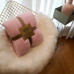 舒居双层羊羔绒毛毯盖毯ins法兰绒&法莱绒毯子麻花系列 粉色