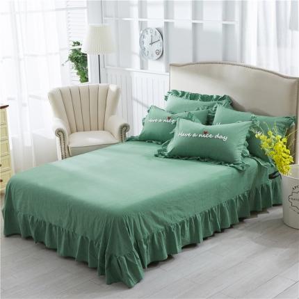 星尚家纺全棉色织毛巾线四件套典雅绿