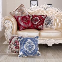 爱家居 客厅欧式靠枕腰枕沙发抱枕刺绣靠垫套子办公酒店 大腰垫