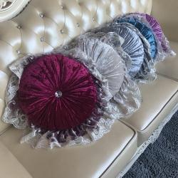 爱家居 欧式奢华圆枕芯真皮沙发汽车抱枕 枕头靠包花边蕾丝靠垫