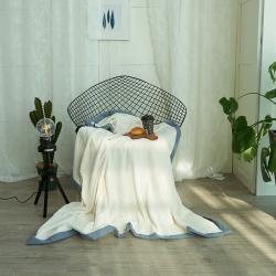 韩版剪花加厚法莱绒300克毛毯绒毯保暖毯棉麻混纺包边(穗穗)